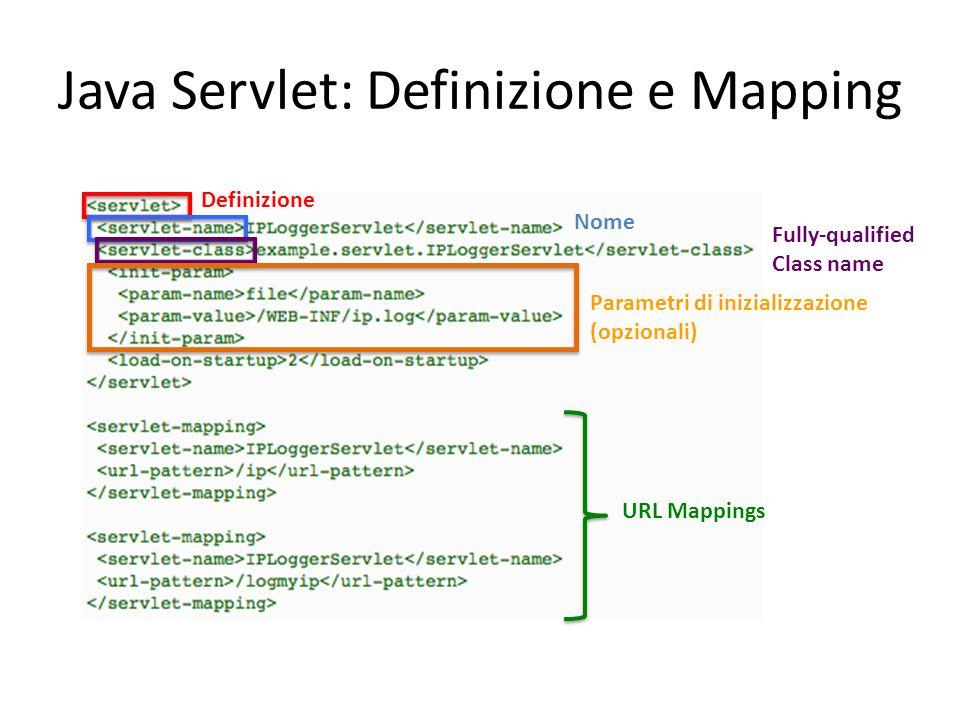 Java Servlet: Definizione e Mapping Definizione Nome Fully-qualified Class name Parametri di inizializzazione (opzionali) URL Mappings