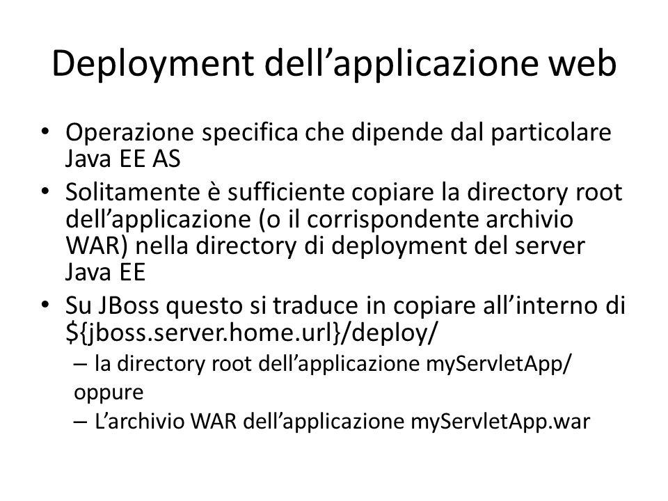 Deployment dell'applicazione web Operazione specifica che dipende dal particolare Java EE AS Solitamente è sufficiente copiare la directory root dell'