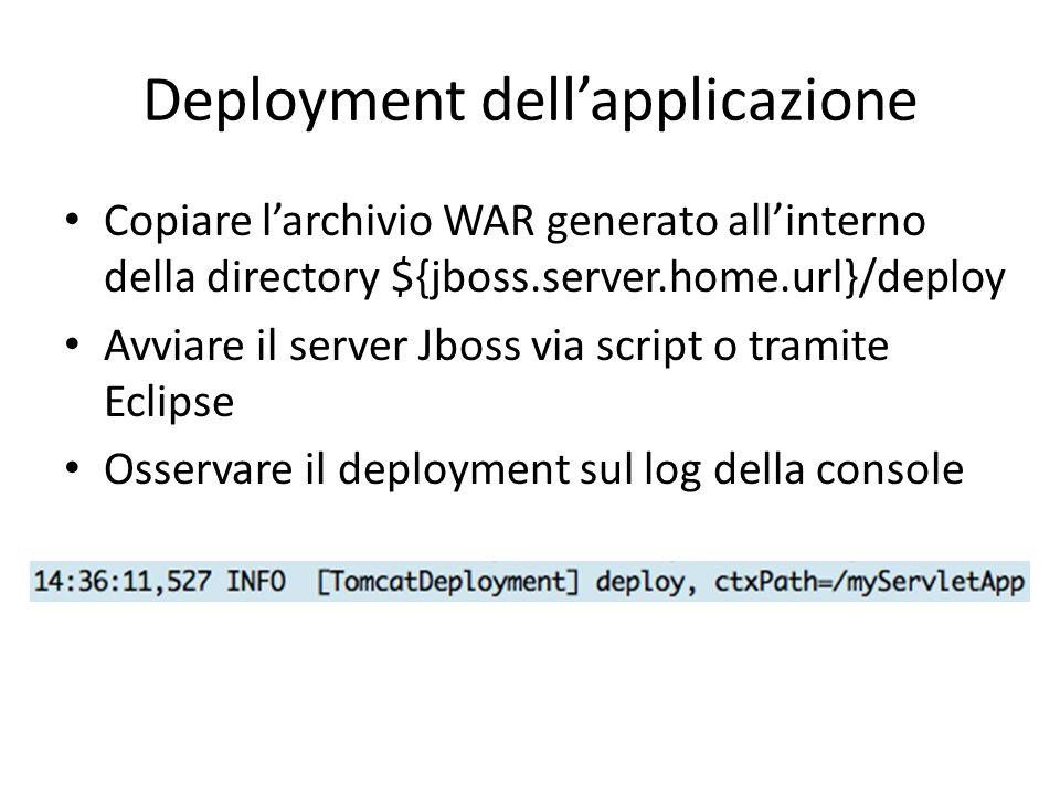 Deployment dell'applicazione Copiare l'archivio WAR generato all'interno della directory ${jboss.server.home.url}/deploy Avviare il server Jboss via s