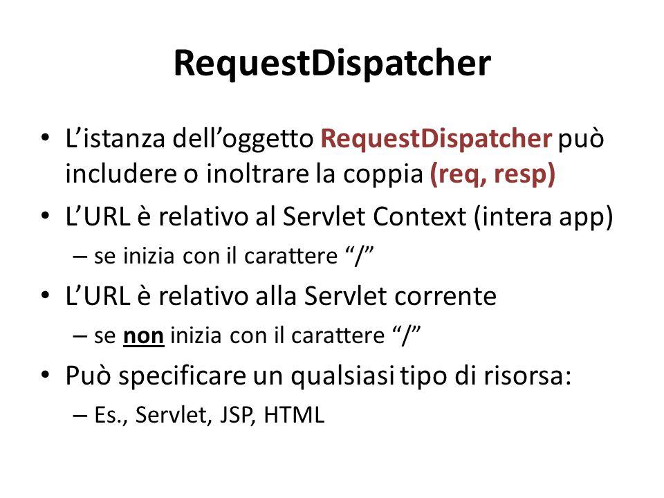 RequestDispatcher L'istanza dell'oggetto RequestDispatcher può includere o inoltrare la coppia (req, resp) L'URL è relativo al Servlet Context (intera