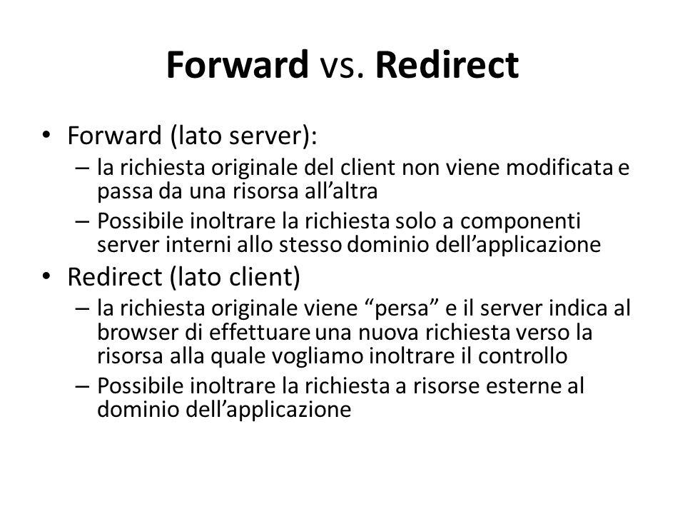 Forward vs. Redirect Forward (lato server): – la richiesta originale del client non viene modificata e passa da una risorsa all'altra – Possibile inol