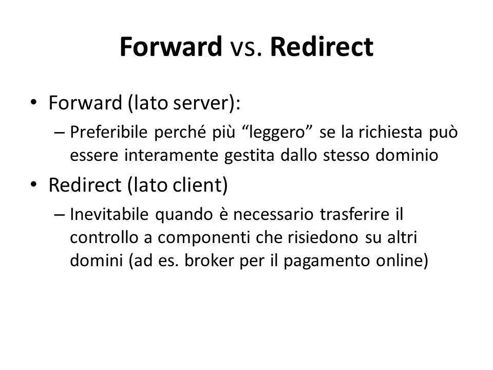 """Forward vs. Redirect Forward (lato server): – Preferibile perché più """"leggero"""" se la richiesta può essere interamente gestita dallo stesso dominio Red"""