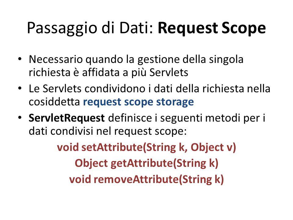 Passaggio di Dati: Request Scope Necessario quando la gestione della singola richiesta è affidata a più Servlets Le Servlets condividono i dati della