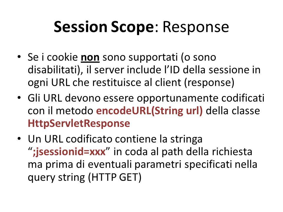 Session Scope: Response Se i cookie non sono supportati (o sono disabilitati), il server include l'ID della sessione in ogni URL che restituisce al cl