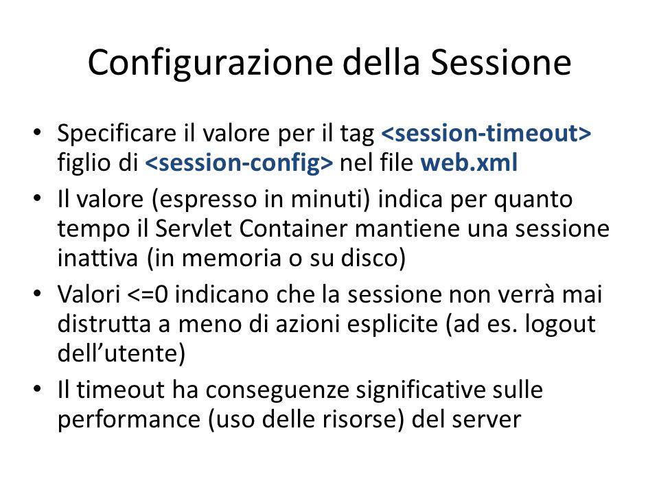 Configurazione della Sessione Specificare il valore per il tag figlio di nel file web.xml Il valore (espresso in minuti) indica per quanto tempo il Se