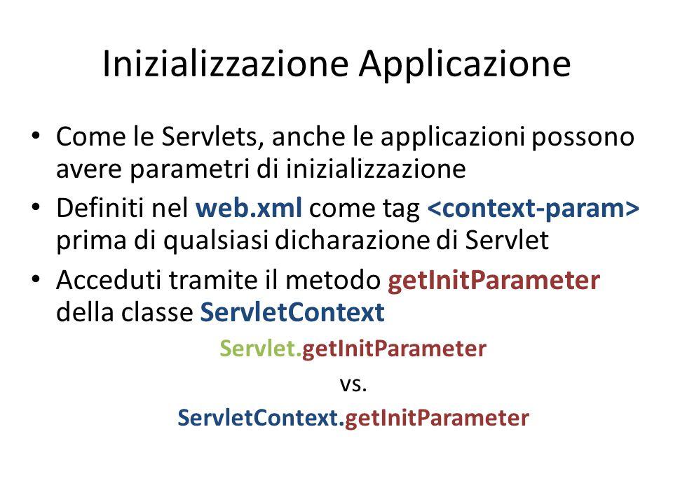 Inizializzazione Applicazione Come le Servlets, anche le applicazioni possono avere parametri di inizializzazione Definiti nel web.xml come tag prima