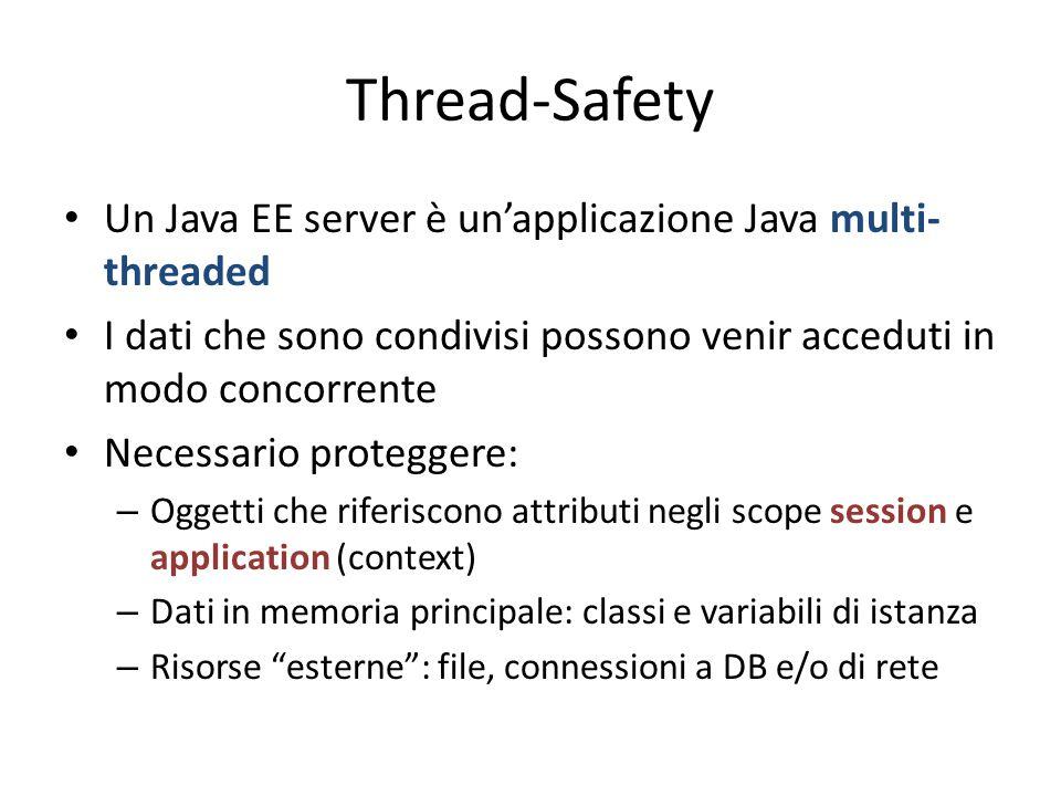 Thread-Safety Un Java EE server è un'applicazione Java multi- threaded I dati che sono condivisi possono venir acceduti in modo concorrente Necessario