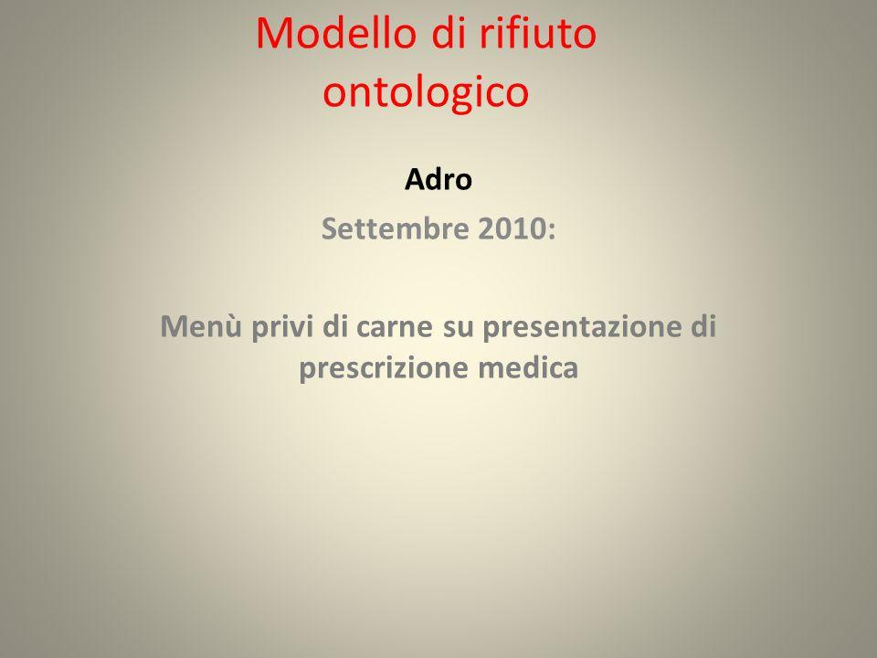 Modello di rifiuto ontologico Adro Settembre 2010: Menù privi di carne su presentazione di prescrizione medica