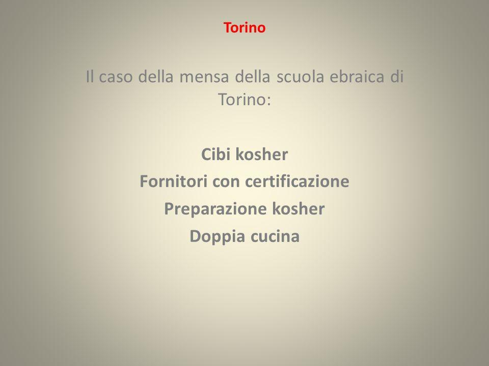 Torino Il caso della mensa della scuola ebraica di Torino: Cibi kosher Fornitori con certificazione Preparazione kosher Doppia cucina