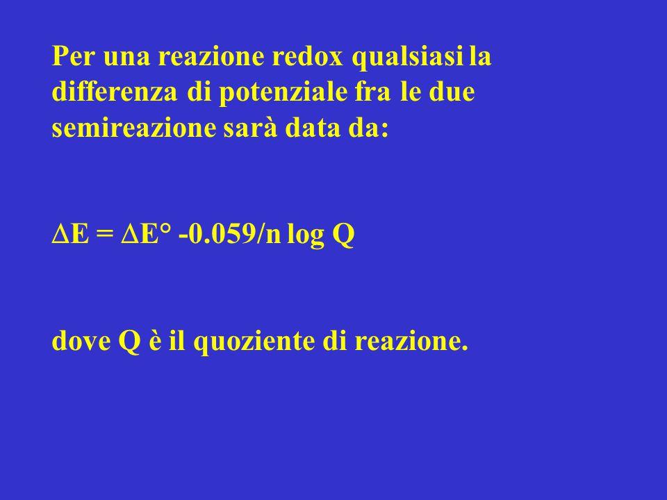 Per una reazione redox qualsiasi la differenza di potenziale fra le due semireazione sarà data da:  E =  E° -0.059/n log Q dove Q è il quoziente di
