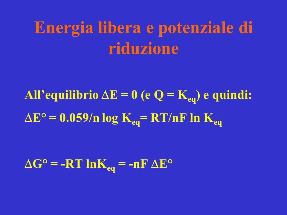 Energia libera e potenziale di riduzione All'equilibrio  E = 0 (e Q = K eq ) e quindi:  E° = 0.059/n log K eq = RT/nF ln K eq  G° = -RT lnK eq = -n