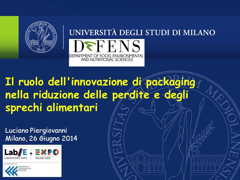 Packaging Functions Comunicazione Praticità d'uso Contenimento PASSIVE PACKAGING ACTIVE PACKAGING INTELLIGENT PACKAGING Il ruolo dell innovazione di packaging nella riduzione delle perdite e degli sprechi alimentari Protezione