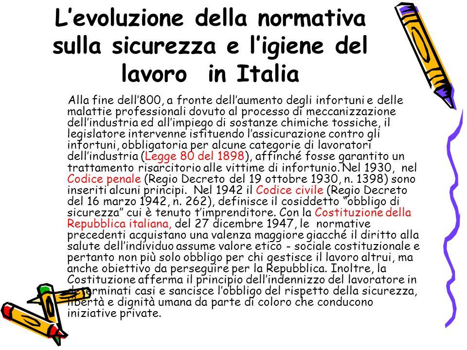 L'evoluzione della normativa sulla sicurezza e l'igiene del lavoro in Italia Alla fine dell'800, a fronte dell'aumento degli infortuni e delle malatti