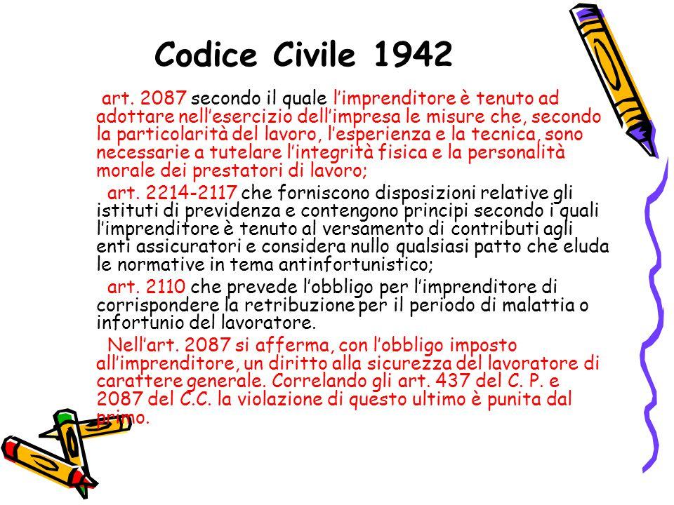 Codice Civile 1942 art. 2087 secondo il quale l'imprenditore è tenuto ad adottare nell'esercizio dell'impresa le misure che, secondo la particolarità