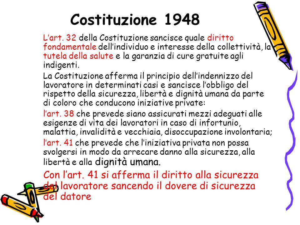 Costituzione 1948 L'art. 32 della Costituzione sancisce quale diritto fondamentale dell'individuo e interesse della collettività, la tutela della salu