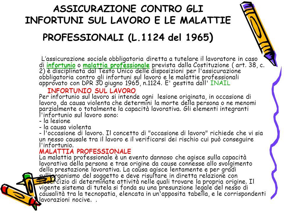 ASSICURAZIONE CONTRO GLI INFORTUNI SUL LAVORO E LE MALATTIE PROFESSIONALI (L.1124 del 1965 ) L'assicurazione sociale obbligatoria diretta a tutelare i