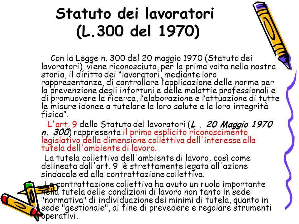 Statuto dei lavoratori (L.300 del 1970) Con la Legge n. 300 del 20 maggio 1970 (Statuto dei lavoratori), viene riconosciuto, per la prima volta nella