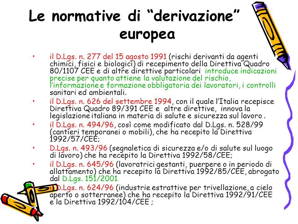 """Le normative di """"derivazione"""" europea il D.Lgs. n. 277 del 15 agosto 1991 (rischi derivanti da agenti chimici, fisici e biologici) di recepimento dell"""