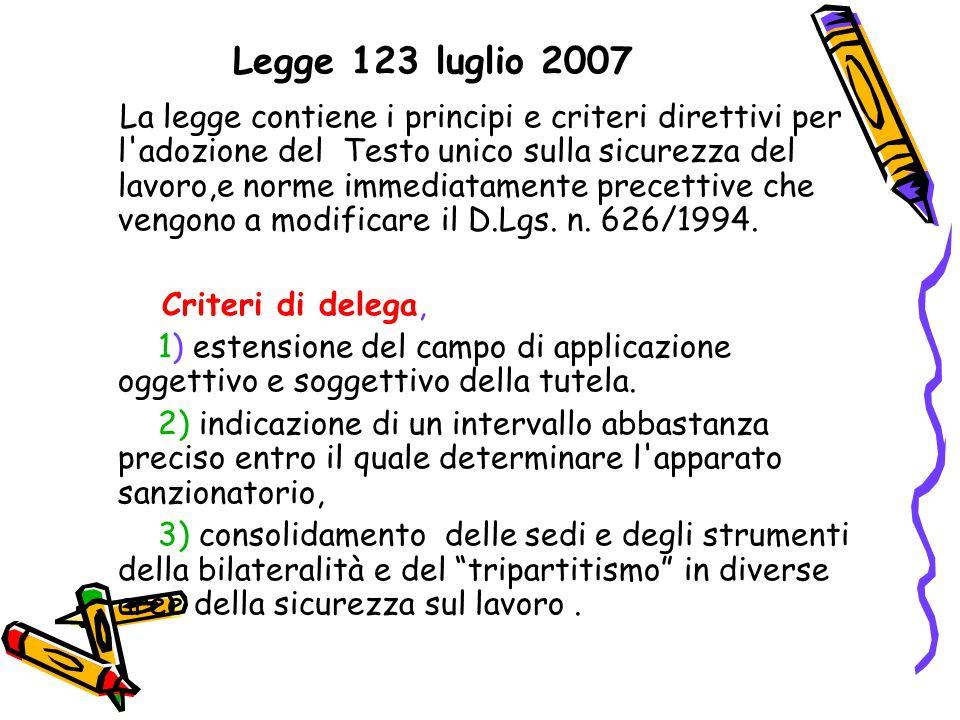 Legge 123 luglio 2007 La legge contiene i principi e criteri direttivi per l'adozione del Testo unico sulla sicurezza del lavoro,e norme immediatament