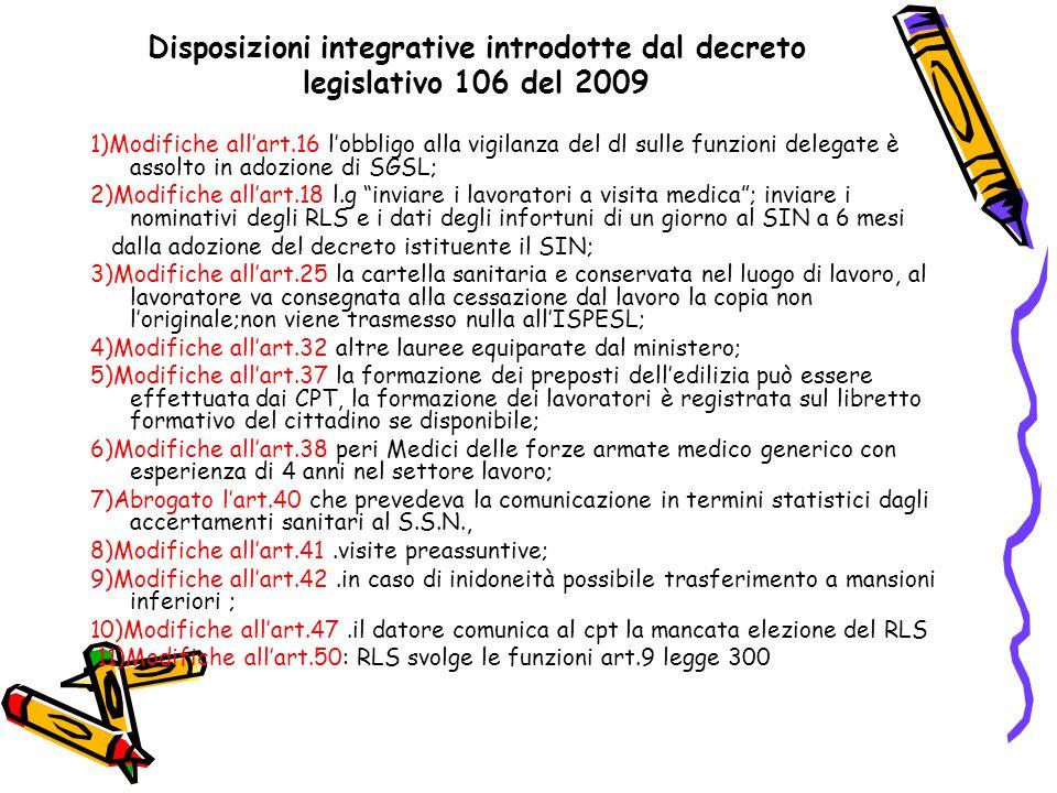 Disposizioni integrative introdotte dal decreto legislativo 106 del 2009 1)Modifiche all'art.16 l'obbligo alla vigilanza del dl sulle funzioni delegat