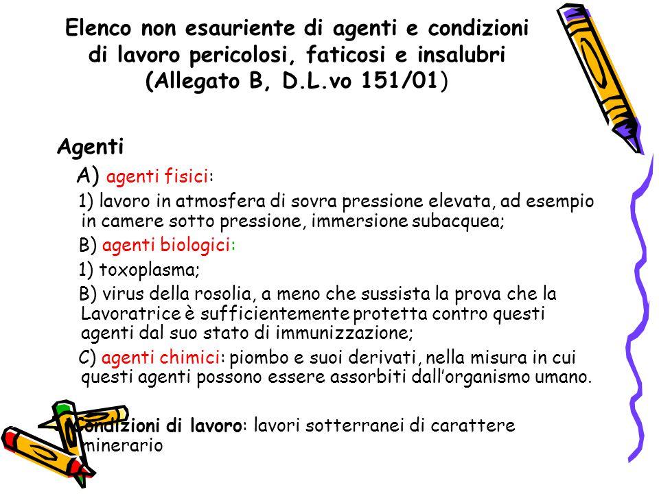 Elenco non esauriente di agenti e condizioni di lavoro pericolosi, faticosi e insalubri (Allegato B, D.L.vo 151/01) Agenti A) agenti fisici: 1) lavoro