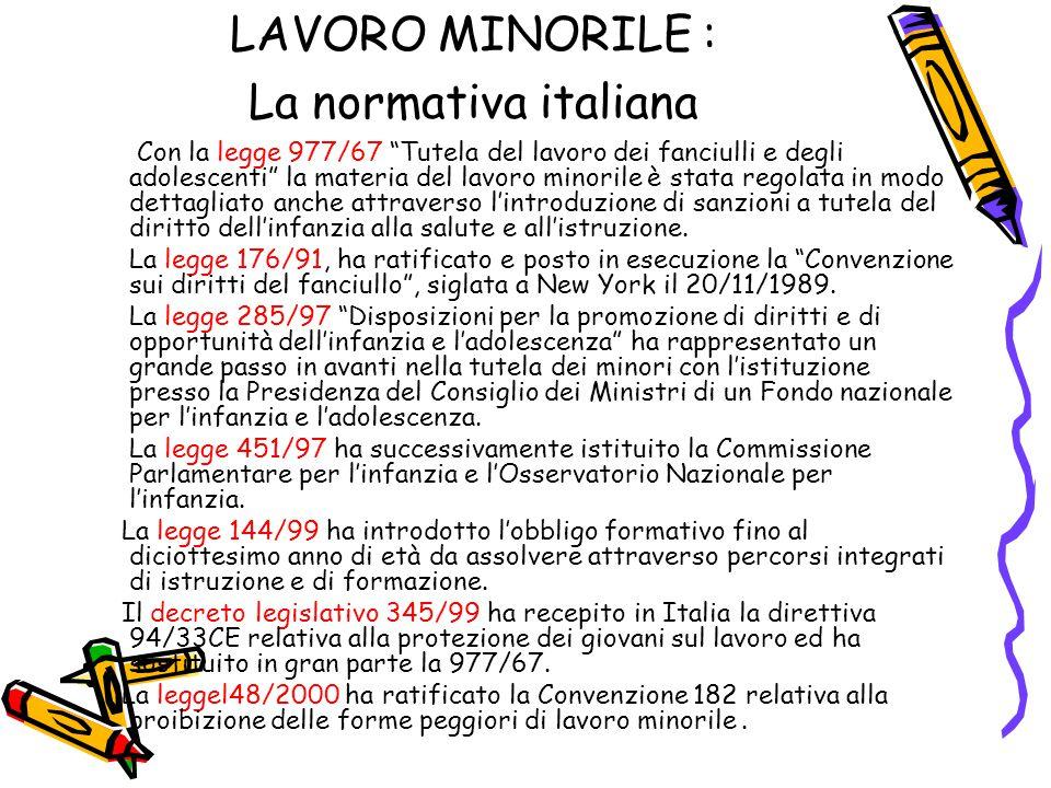 """LAVORO MINORILE : La normativa italiana Con la legge 977/67 """"Tutela del lavoro dei fanciulli e degli adolescenti"""" la materia del lavoro minorile è sta"""