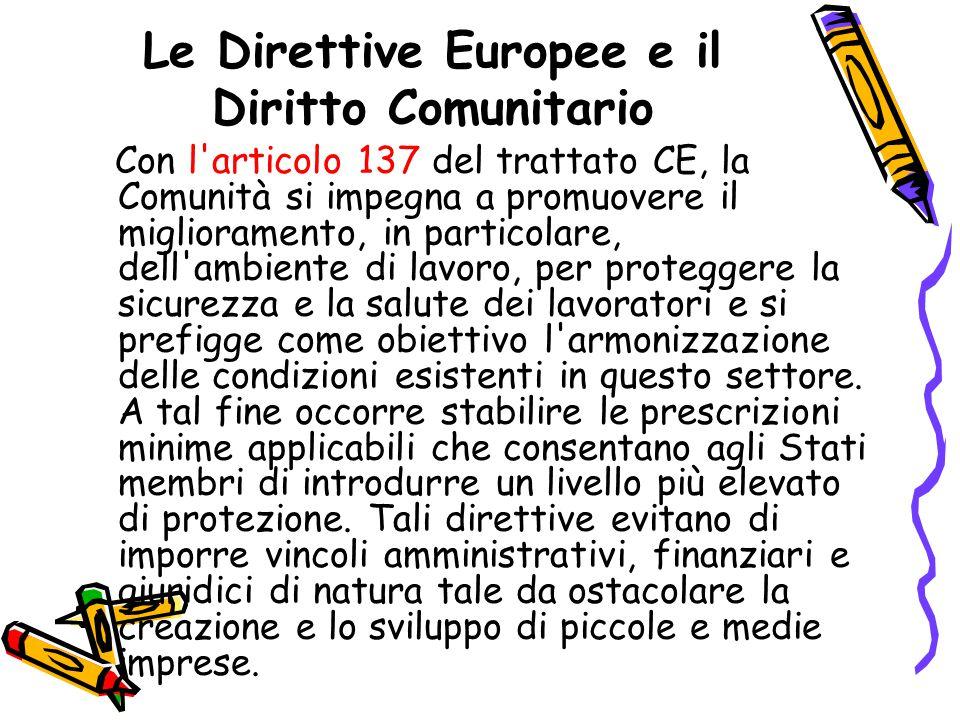 Le Direttive Europee e il Diritto Comunitario Con l'articolo 137 del trattato CE, la Comunità si impegna a promuovere il miglioramento, in particolare