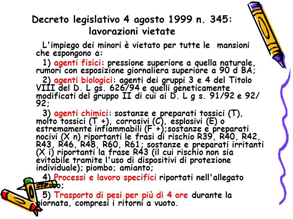 Decreto legislativo 4 agosto 1999 n. 345: lavorazioni vietate L'impiego dei minori è vietato per tutte le mansioni che espongono a: 1) agenti fisici: