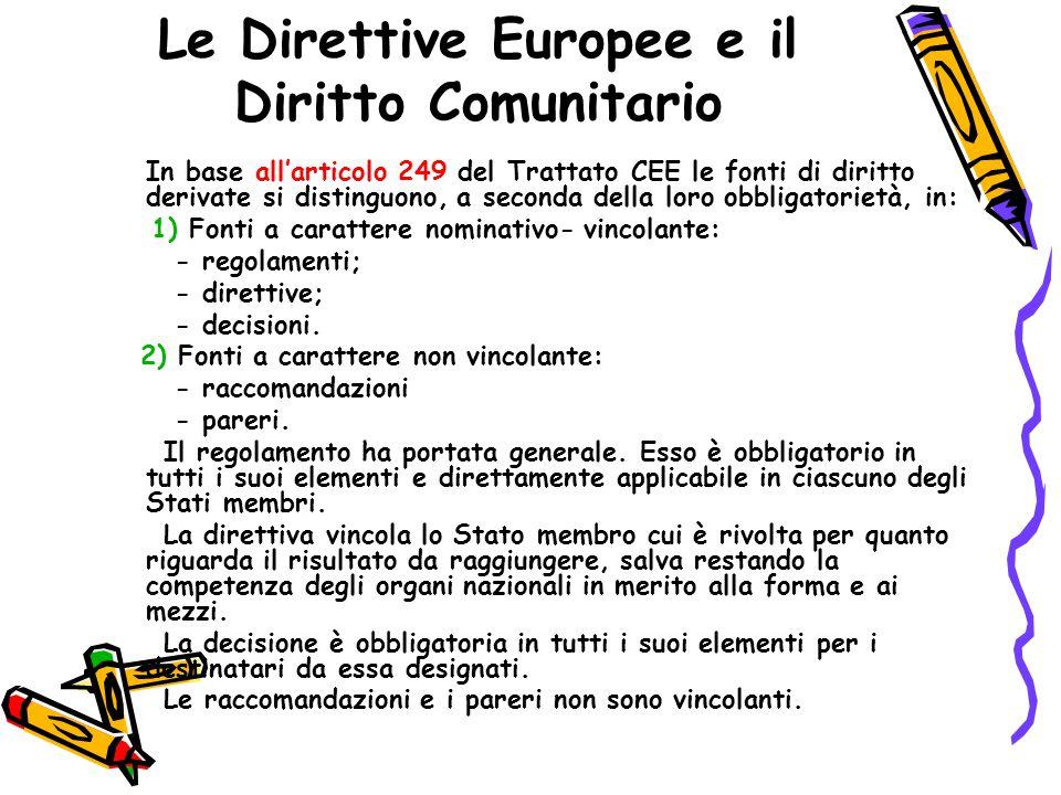 Le Direttive Europee e il Diritto Comunitario Le direttive comunitarie sono recepite in vario modo dal legislatore, attraverso norme primarie, ovvero atti aventi forza di legge, oppure attraverso norme secondarie, come ad esempio un regolamento di attuazione.