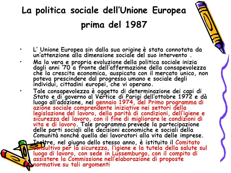 La politica sociale dell'Unione Europea prima del 1987 Nel 1978 è stato adottato il primo programma di azione quinquennale in cui veniva sottolineata l esigenza di stabilire regole per la protezione contro le sostanze pericolose.