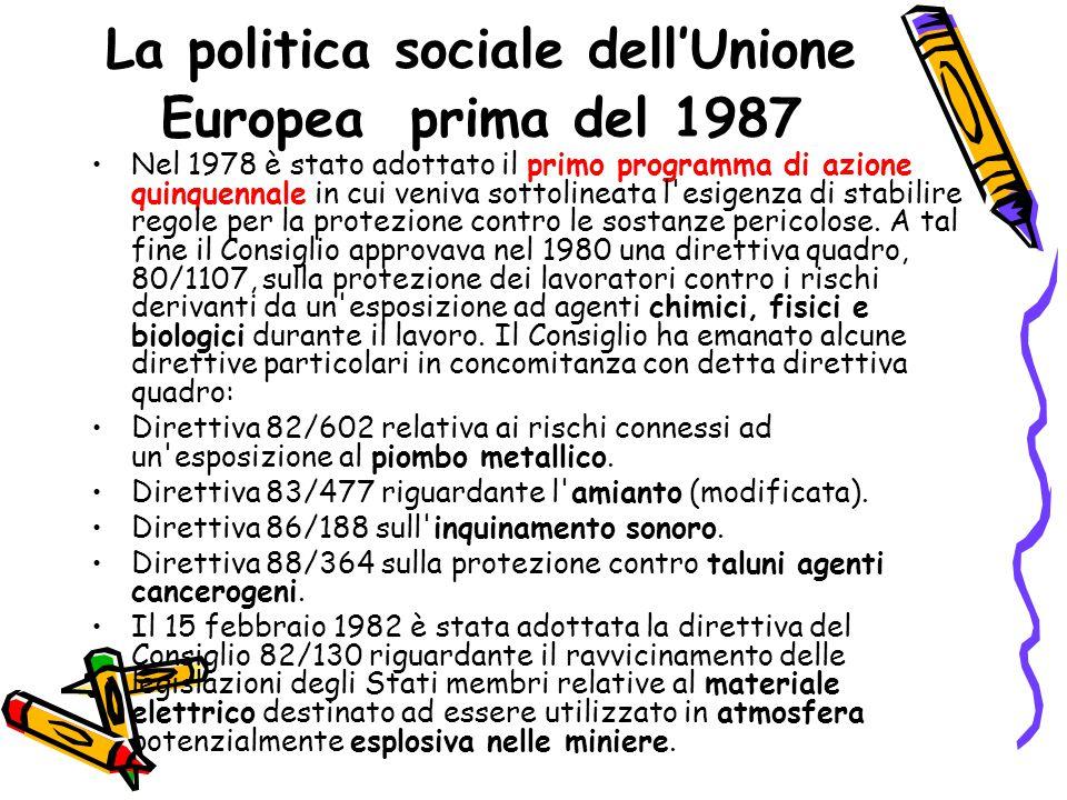 La politica sociale dell'Unione Europea dal 1987 al 1989 La Comunità Europea nel 1987 adotta l'Atto unico europeo con cui riforma i Trattati di Roma del '57 ed inserisce a pieno titolo nella filosofia della Comunità i problemi del lavoro e della sua tutela.