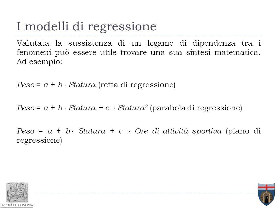 I modelli di regressione Valutata la sussistenza di un legame di dipendenza tra i fenomeni può essere utile trovare una sua sintesi matematica. Ad ese