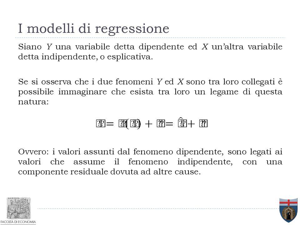 I modelli di regressione Siano Y una variabile detta dipendente ed X un'altra variabile detta indipendente, o esplicativa. Se si osserva che i due fen
