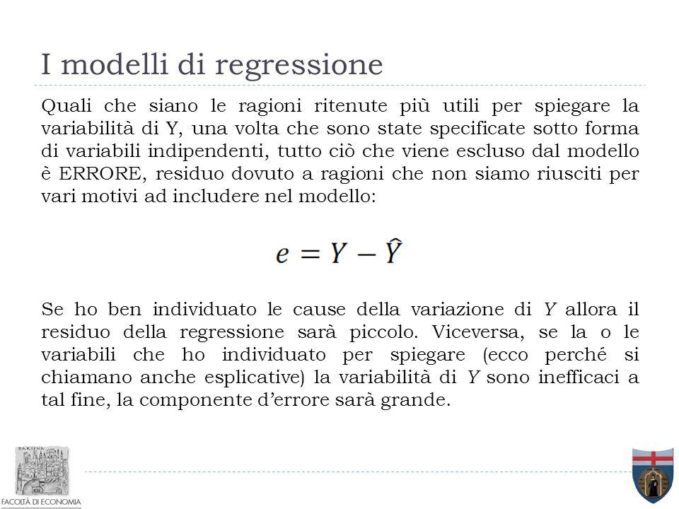 I modelli di regressione Quali che siano le ragioni ritenute più utili per spiegare la variabilità di Y, una volta che sono state specificate sotto fo