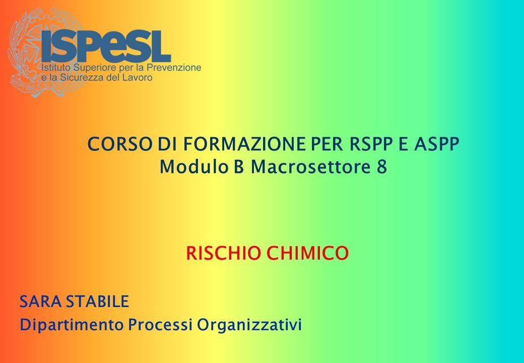 CORSO DI FORMAZIONE PER RSPP E ASPP Modulo B Macrosettore 8 RISCHIO CHIMICO SARA STABILE Dipartimento Processi Organizzativi