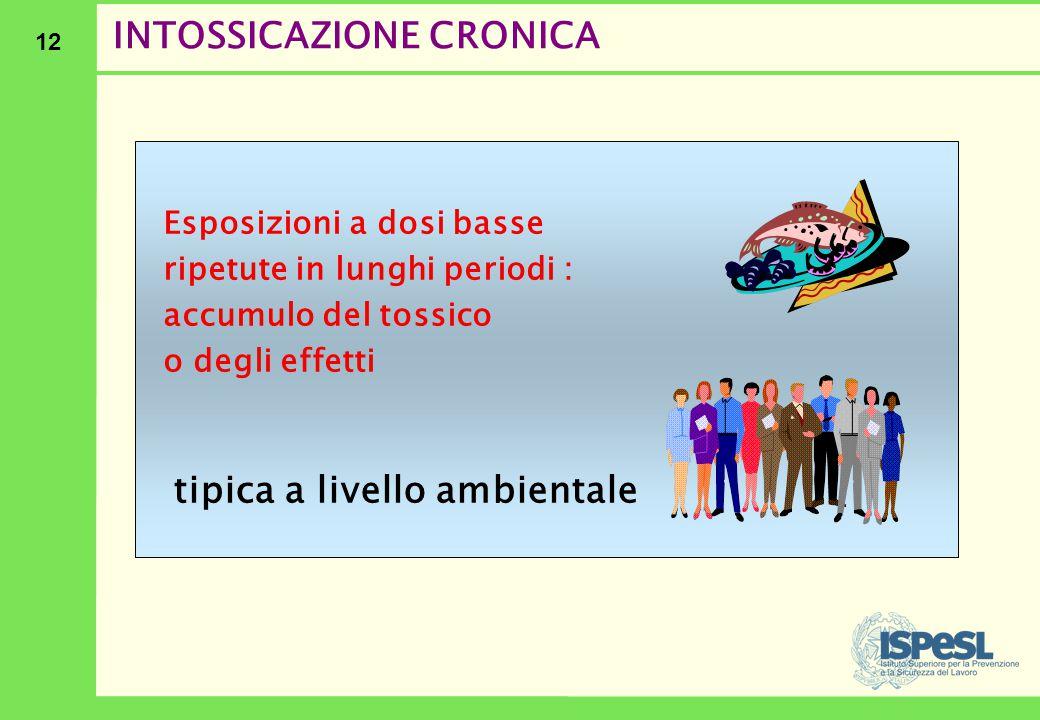12 INTOSSICAZIONE CRONICA Esposizioni a dosi basse ripetute in lunghi periodi : accumulo del tossico o degli effetti tipica a livello ambientale