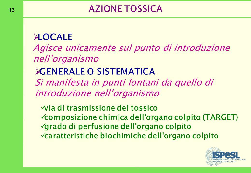 13 AZIONE TOSSICA  LOCALE Agisce unicamente sul punto di introduzione nell'organismo  GENERALE O SISTEMATICA Si manifesta in punti lontani da quello