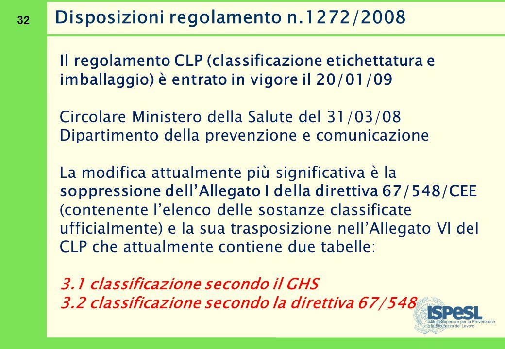 32 Disposizioni regolamento n.1272/2008 Il regolamento CLP (classificazione etichettatura e imballaggio) è entrato in vigore il 20/01/09 Circolare Min