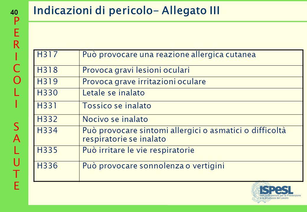 40 Indicazioni di pericolo- Allegato III H317Può provocare una reazione allergica cutanea H318Provoca gravi lesioni oculari H319Provoca grave irritazi