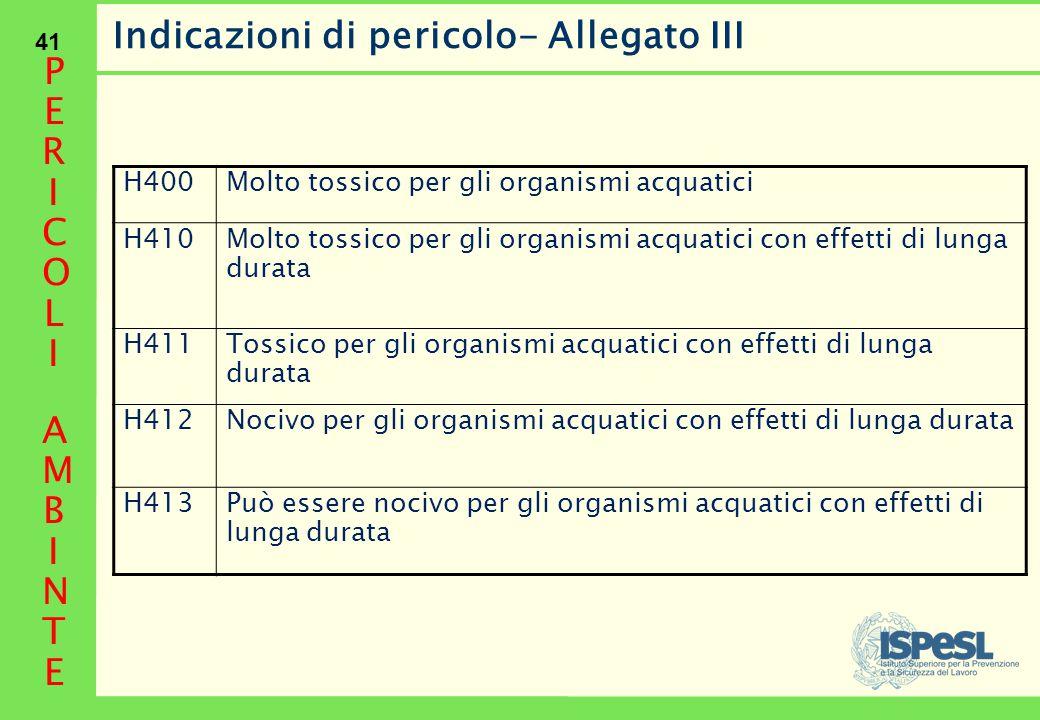 41 Indicazioni di pericolo- Allegato III H400Molto tossico per gli organismi acquatici H410 Molto tossico per gli organismi acquatici con effetti di l