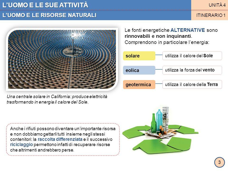L'UOMO E LE SUE ATTIVITÀ L'UOMO E LE RISORSE NATURALI UNITÀ 4 ITINERARIO 1 3 Le fonti energetiche ALTERNATIVE sono rinnovabili e non inquinanti. Compr