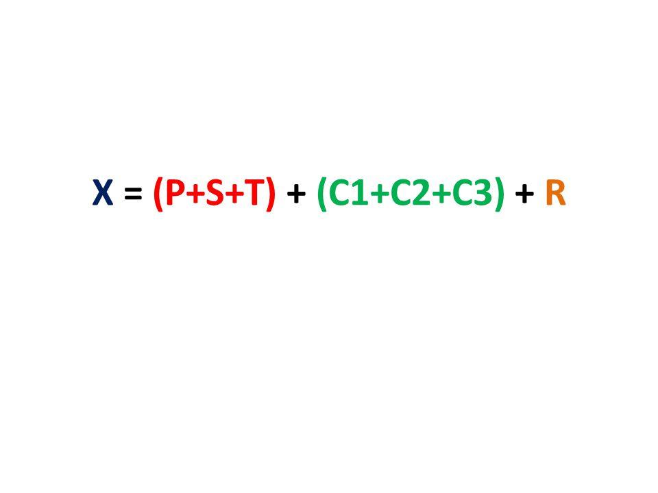 X = (P+S+T) + (C1+C2+C3) + R