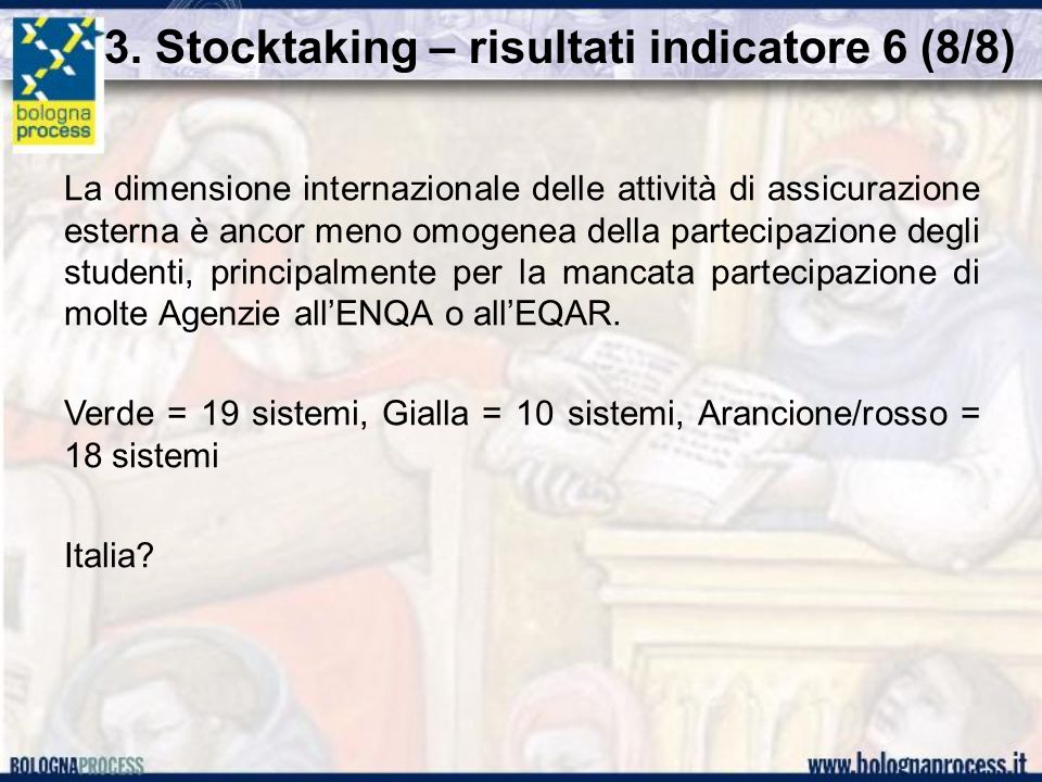 3. Stocktaking – risultati indicatore 6 (8/8) La dimensione internazionale delle attività di assicurazione esterna è ancor meno omogenea della parteci