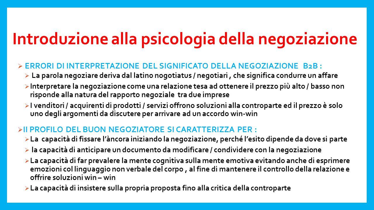 Introduzione alla psicologia della negoziazione  CONTENUTO DELLA NEGOZIAZIONE B2B :  STRUMENTO PER LA GESTIONE DEL CONFLITTO TRA ATTORI INTERDIPENDENTI  STRUMENTO PER ALLINEARE LA MOTIVAZIONE A COMPETERE CON LA MOTIVAZIONE A COOPERARE  LA NEGOZIAZIONE NON E' NECESSARIAMENTE UN GIOCO A SOMMA NULLA, DAL MOMENTO CHE GLI ATTORI SONO DI NORMA COINVOLTI NELLA DEFINIZIONE DI DIVERSI ELEMENTI CHE HANNO UNA DIVERSA IMPORTANZA / PRIORITA' ; CIO' CHE PUO' PORTARE ALLA MEDIAZIONE  LA NEGOZIAZIONE E' UN PROCESSO CHE PUO' PORTARE A DIVERSI RISULTATI, MA SOLO ALCUNI SONO PARETO EFFICIENTI  LE EURISTICHE ( SCORCIATOIE COGNITIVE ) SUNO UTILI PER GESTIRE LA COMPLESSITA' DELLA NEGOZIAZIONE, MA SPESSO CONDUCONO A RISULTATI NON OTTIMALI  LA NEGOZIAZIONE SI ESPRIME IN UNA COMUNICAZIONE VERBALE / NON VERBALE ED E' SENSIBILE AL CONTESTO IN CUI SI SVOLGE