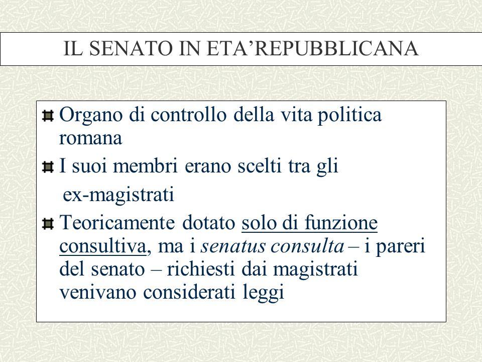 IL SENATO IN ETA'REPUBBLICANA Organo di controllo della vita politica romana I suoi membri erano scelti tra gli ex-magistrati Teoricamente dotato solo di funzione consultiva, ma i senatus consulta – i pareri del senato – richiesti dai magistrati venivano considerati leggi