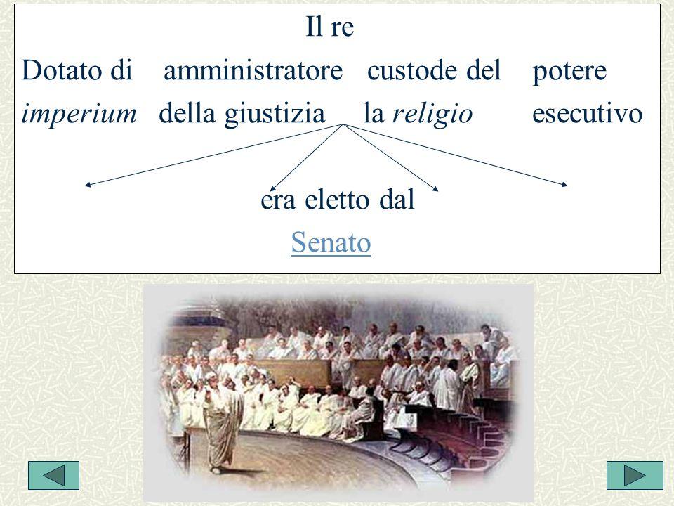Il re Dotato di amministratore custode del potere imperium della giustizia la religio esecutivo era eletto dal Senato