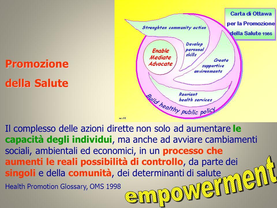 Promozione della Salute Il complesso delle azioni dirette non solo ad aumentare le capacità degli individui, ma anche ad avviare cambiamenti sociali,