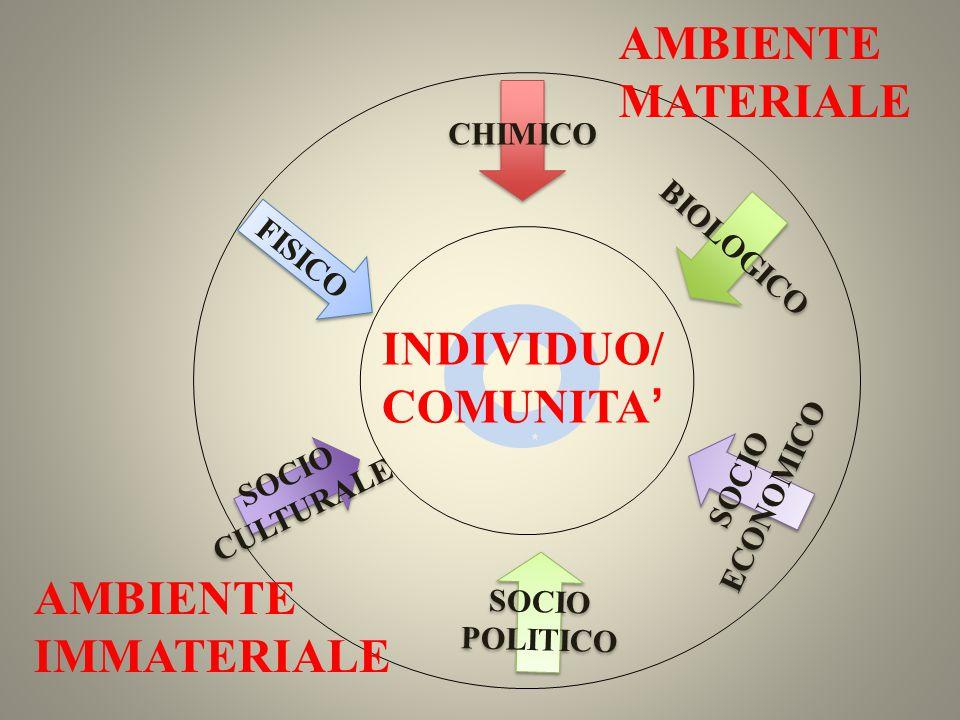 INDIVIDUO/ COMUNITA' CHIMICO FISICO BIOLOGICO SOCIO CULTURALE SOCIO CULTURALE SOCIO POLITICO SOCIO POLITICO SOCIO ECONOMICO SOCIO ECONOMICO AMBIENTE M