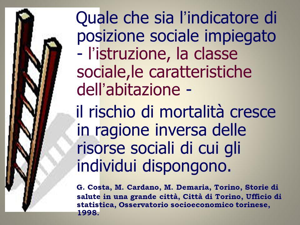 Quale che sia l'indicatore di posizione sociale impiegato - l'istruzione, la classe sociale,le caratteristiche dell'abitazione - il rischio di mortali