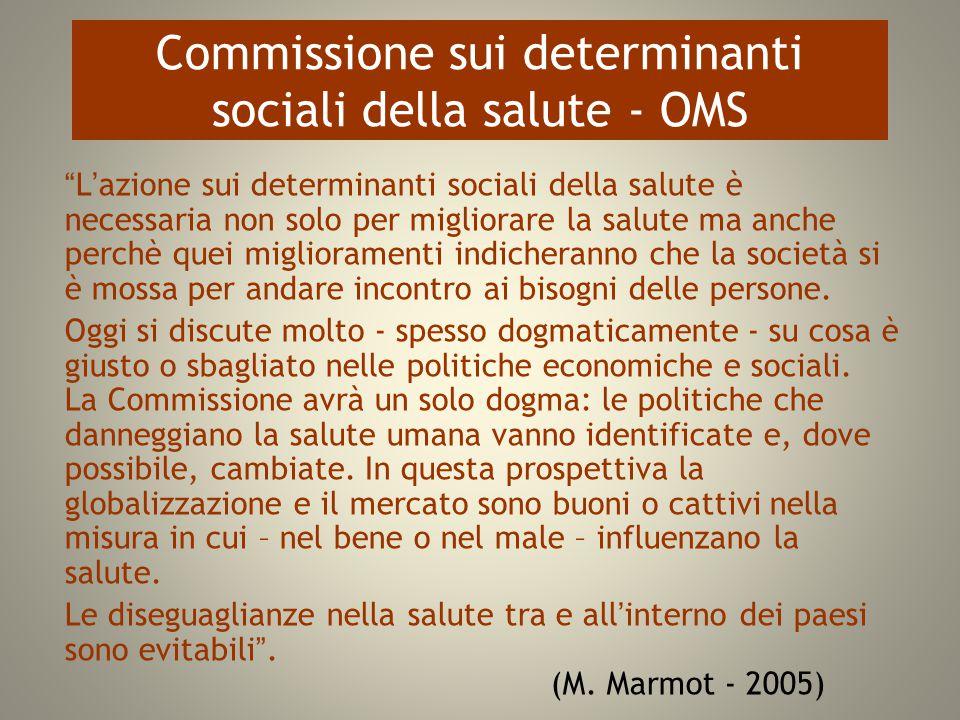 """Commissione sui determinanti sociali della salute - OMS """"L'azione sui determinanti sociali della salute è necessaria non solo per migliorare la salute"""